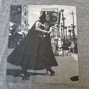 Star Wars official t-shirt on gray heather. The gr